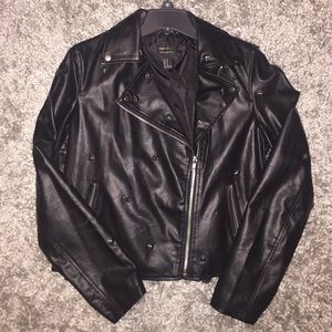 FOREVER 21 star studded faux leather jacket